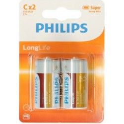 PILAS PHILIPS R14 1,5V LONG LIFE PACK 2UDS