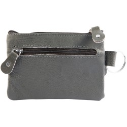 Monedero cuero color gris