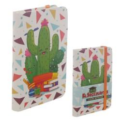 Libreta Tapa Dura con Goma y Hojas Rayadas - Cactus