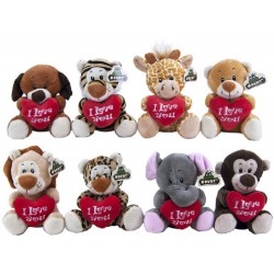 Plush Animals with heart 8 assorted 14cm