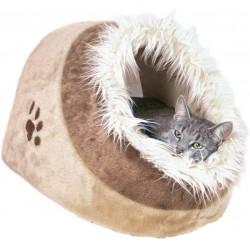 Trixie Cueva para Gatos Suave - Cama para Gatos Gatera Minou, 41x30x50 cm, BeigeMarrón