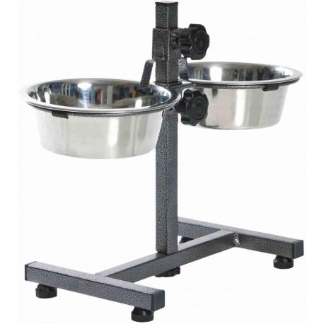 Trixie - Barra soporte y cuencos para perros, 2 x 0,75 L (diámetro 15 cm), hasta 27 cm de altura ajustable, negro-plata